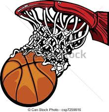 Basketball hoop with basketball Cartoon image of a clip art