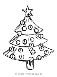 Christmas Tree Coloring Page Print by Drawn Christmas Ornaments Coloring Book Pencil And In Color