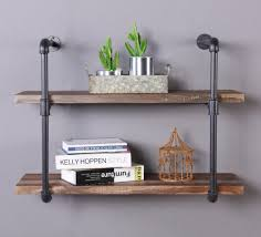 Homissue 2 Shelf Rustic Living Room Furniture Pipe Shelving Unit Vintage Industrial Wall