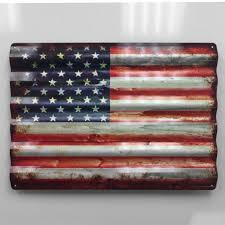 24 Rustic American Flag Corrugated Metal Sign