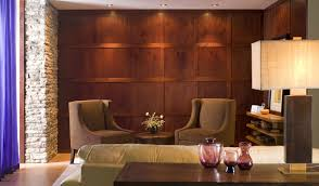 luxury wooden wall panels in rustic living room decor idea