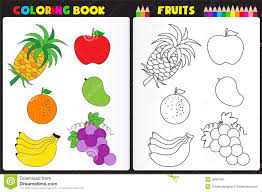 Coloring Book Page Fruits Nature Kids Colorful Sketches