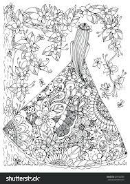 Rainforest Plants And Flowers Coloring Pages Girl In A Floral Dress