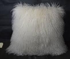 20 Mongolian Lamb fur Pillow Natural White 20x20