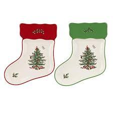 Spode Christmas Tree Stocking Dishes Set Of 2