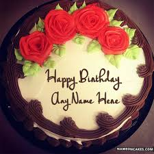 Lovely Red Rose Happy Birthday Cake For Lover With Name