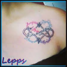 My New Tattoo Dbl Heart Infinity Symbol With Kids Names And Says I LOVE
