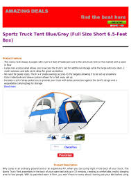 Sportz Truck Tent Blue Grey Full Size Short 6.5 Feet Box