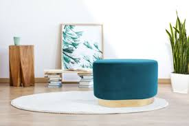 samthocker pouf gold messing sitzhocker samt retro hocker
