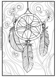 Native American Coloring Pages Dreamcatcher Feathers