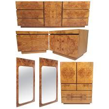 Kent Coffey Continental Dresser by Mid Century Burl Wood Bedroom Set By Milo Baughman For Lane