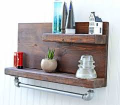 Brown Floating Shelf On Grey Stucco Wall Of Superb Barn Wood Bathroom Shelves Long
