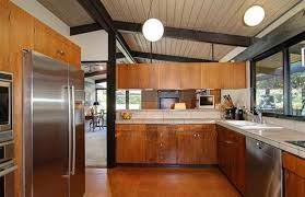 Mid Century Modern Kitchen Cabinet Doors Wooden Countertop Built In Sink Brushed Nickel Chandelier Standard Eased