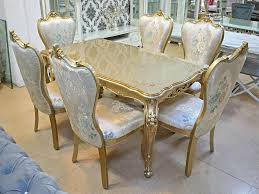 luxus barock esstisch gold mit 6 stühlen esszimmer neu
