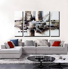 Noah Art 3 Panel Black And White Abstract Wall 100 Hand Painted Oil Paintings On Canvas Ready To Hang For Living Room Home Decor