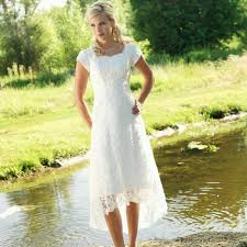 Vintage Bohemian Rustic Style High Low Closed Back Bridal Gowns Lace Beach Wedding Dresses With Short Sleeves Robe De Soiree In From