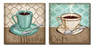 2 Trellis Cafe And Mocha Quartrefoil Brown Teal Cups Of Coffee Two 12x12 Poster Prints