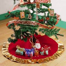 Aytai 36 Inch Non Woven Christmas Tree Skirt Red And Gold Ruffle Edge For Decoration