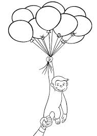 Curious George Holding A Lot Of Balloons Coloring Page Art