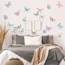 wandtattoo schmetterlinge aquarell pastell set