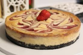 White Chocolate Strawberry Swirl Cheesecake