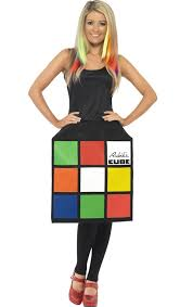 Ladies 3D Rubiks Cube Fancy Dress Costume 80s 1980s Retro Puzzle Oufit Size 8 18