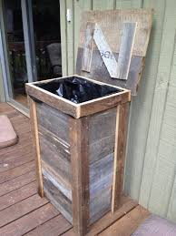 Rustic Trash Can Designed For Outdoor Kitchen Wonderful Planter Idea Too