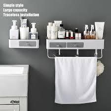 badezimmer regal dusche caddy organizer wand montieren shoo rack mit handtuch bar kein bohren küche lagerung bad zubehör