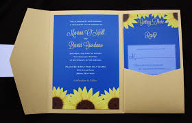 Royal Blue Gold Sunflower Pocketfold Wedding Invitations