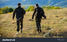 100 Gamekeepers Hunters Friends Walk Mountains Background Stock Photo