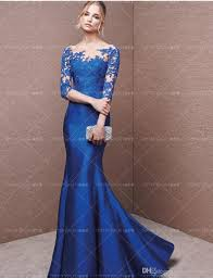 2016 long formal dresses silk lace long sleeve blue a line party