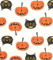 Foam Pumpkins Bulk by Doodles Halloween Interlock Cotton Fabric 57