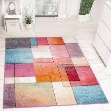 teppich wohnzimmer karo muster multicolour meliert mehrfarbig