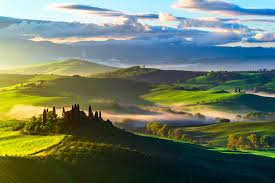 HD Italy Tuscany Fields Trees Top View Fog Wallpaper