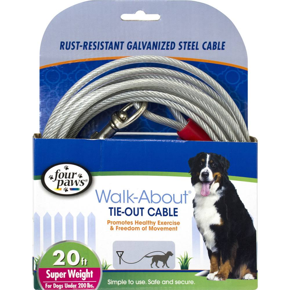Four Paws Super Dog Tie-Out Cable - 20 ft