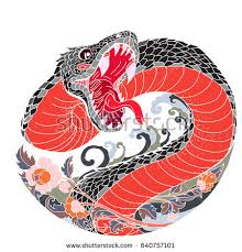 Hand Drawn And Asian Tattoo Design Snake With Line Thai Flower Japanese Carp Drawing