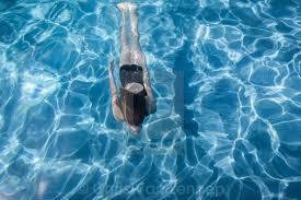 Girl Underwater Swimming Pool Blue Stock Image