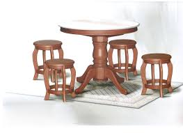 DN788 Round Marble Dining Table (3Ft) + 4 Stools Set