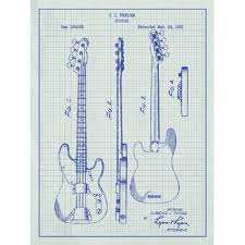 Music And Audio Fender Bass Guitar 1953 Silk Screen Print Graphic Art In White Grid Blue Ink