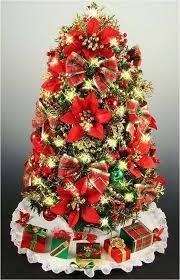 Plaid Christmas Tree Skirt Ideas Mini Tabletop Poinsettias And Bows 16 Trending