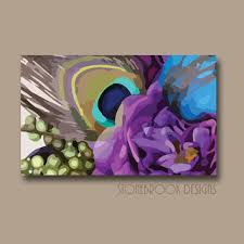 Peacock Wall Art CANVAS Purple Blue Turquoise Painting Vivid Colorful Artwork Large Image Wrap Floral Bouquet