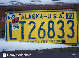 USA Alaska Unalakleet Old Alaska License Plate On Abandoned Truck On ...