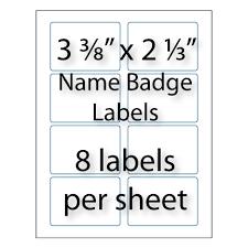 Name Badge Labels 3 8 X 2 1