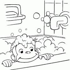 CartoonBest Photos Of Curious George Coloring Pages Take A Bath In Bathroom