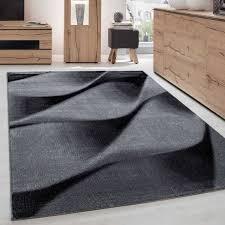 teppich modern designer wohnzimmer geometrisch wellen muster grau schwarz weiss größe 80x150 cm