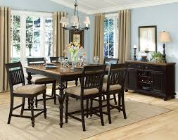 Rustic Minimalist Dining Room Spaces With Unique Pub Style Sets And Light Brown Carpet Tiles Plus Dark Wooden Table 6 Chairs