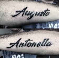 Augsto And Antonella Mens Kids Name Outer Forearm Tattoo