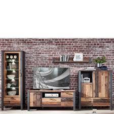 wohnzimmer schrankwand in altholz optik und anthrazit loft design 4 teilig