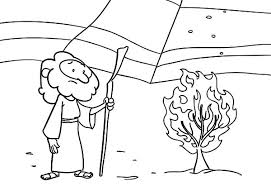 Bible Story Burning Bush Moses Coloring Pages