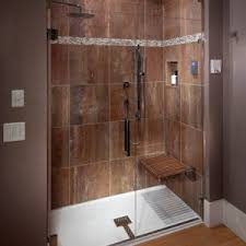 fiberglass shower pan with tile walls and wall mounted bench